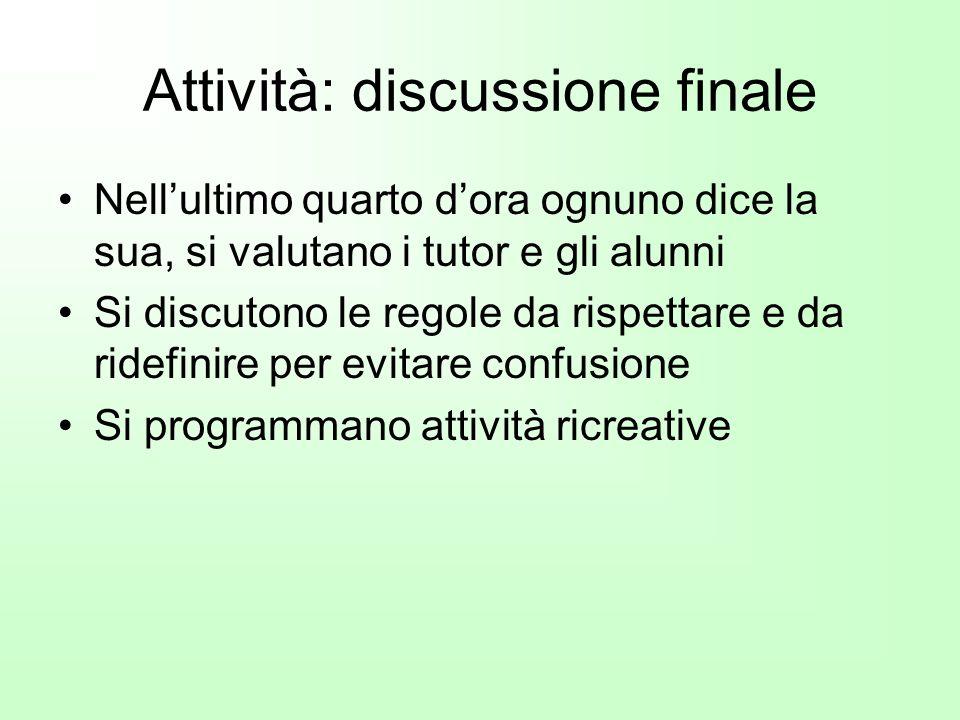 Attività: discussione finale