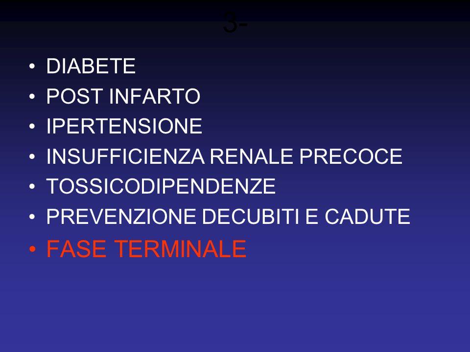 3- FASE TERMINALE DIABETE POST INFARTO IPERTENSIONE