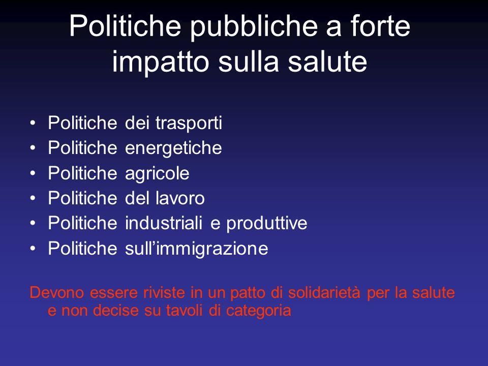 Politiche pubbliche a forte impatto sulla salute