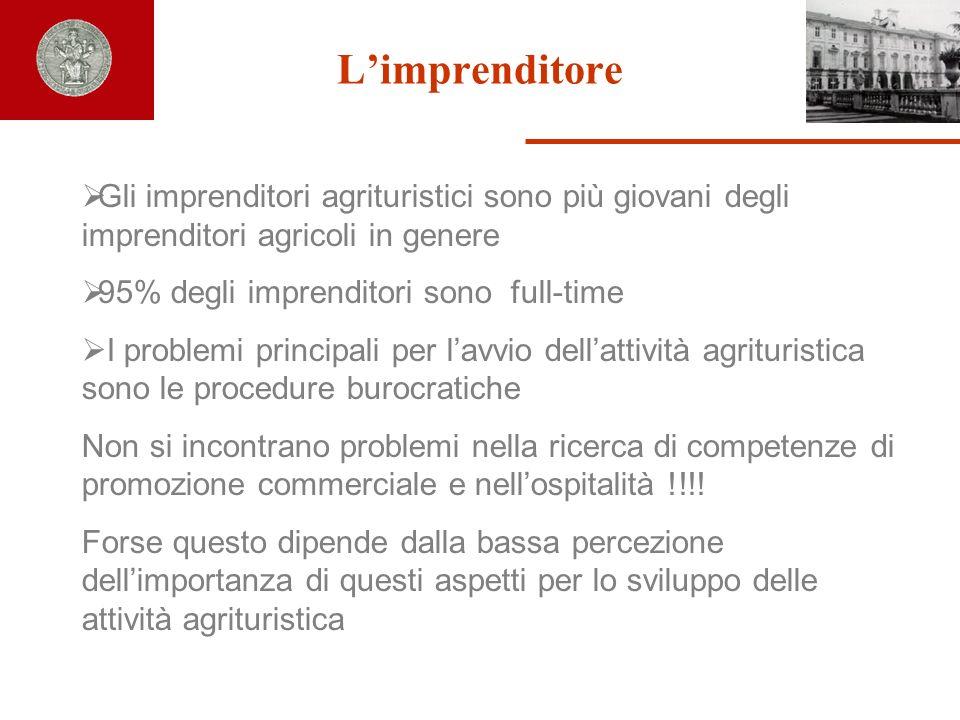 L'imprenditore Gli imprenditori agrituristici sono più giovani degli imprenditori agricoli in genere.