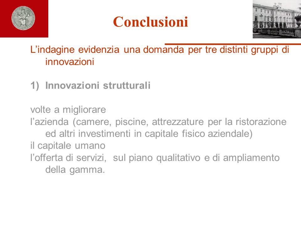 Conclusioni L'indagine evidenzia una domanda per tre distinti gruppi di innovazioni. Innovazioni strutturali.