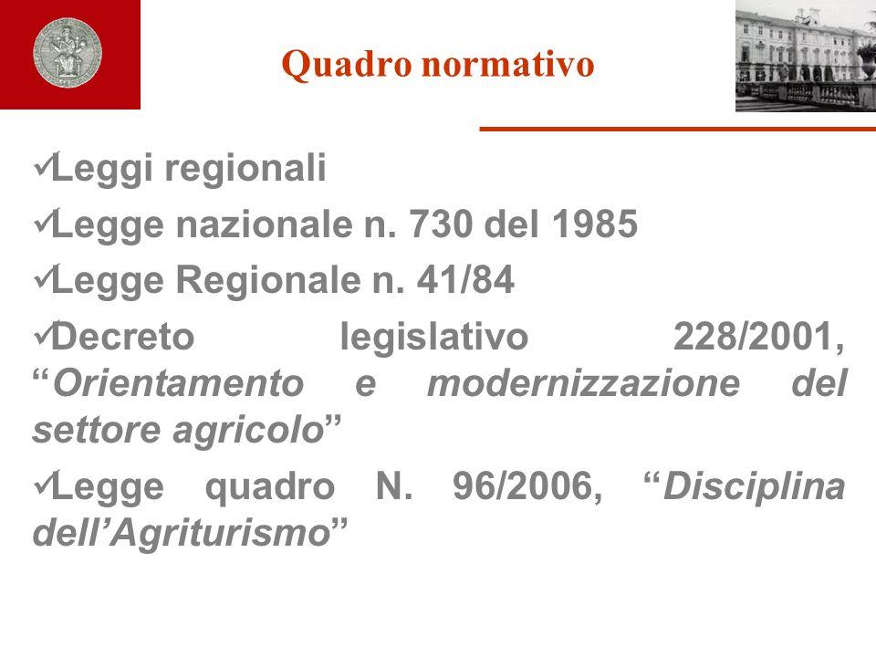 Quadro normativo Leggi regionali. Legge nazionale n. 730 del 1985. Legge Regionale n. 41/84.