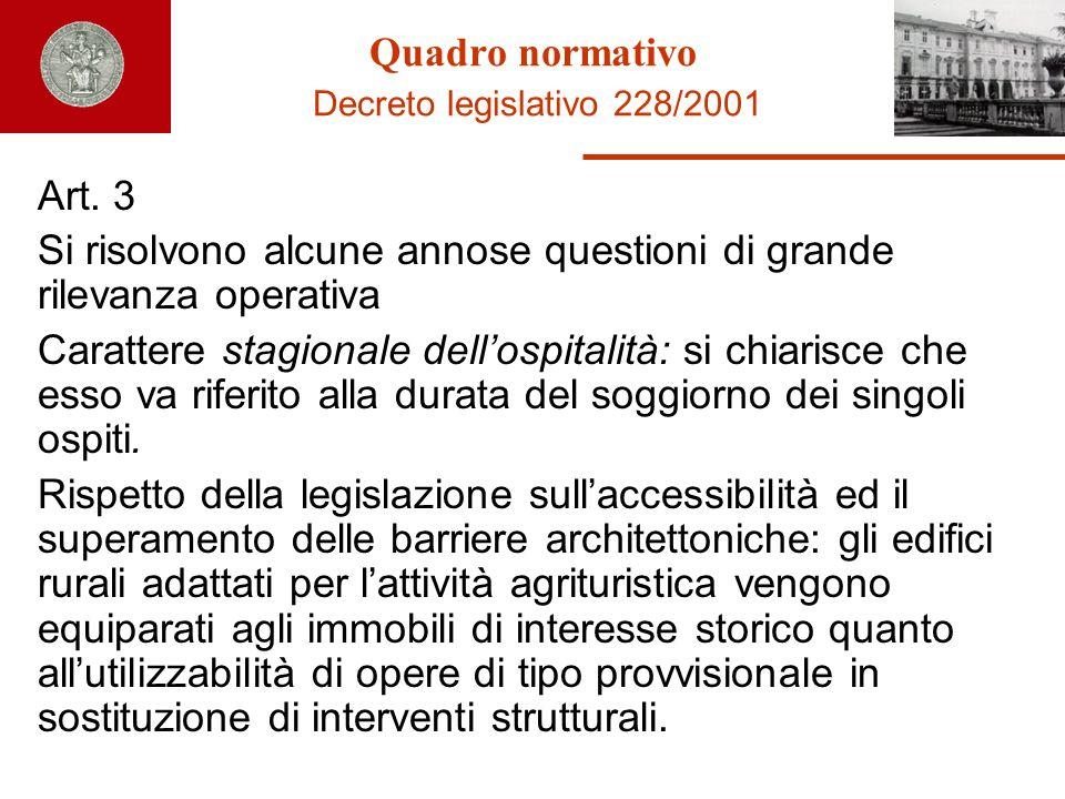 Quadro normativo Decreto legislativo 228/2001
