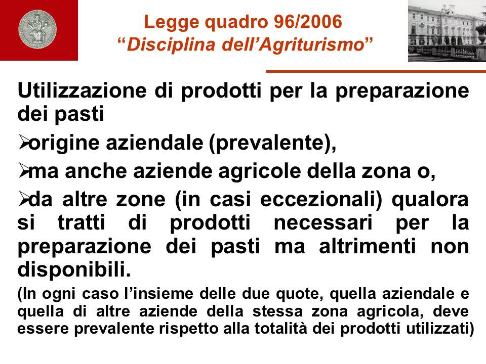 Legge quadro 96/2006 Disciplina dell'Agriturismo