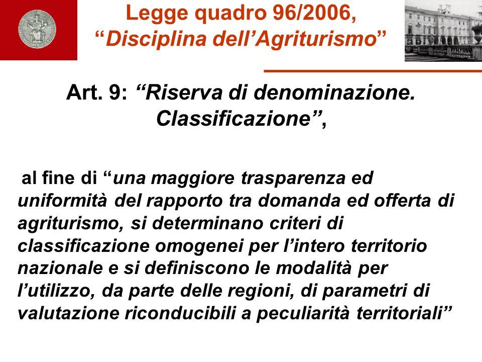 Legge quadro 96/2006, Disciplina dell'Agriturismo