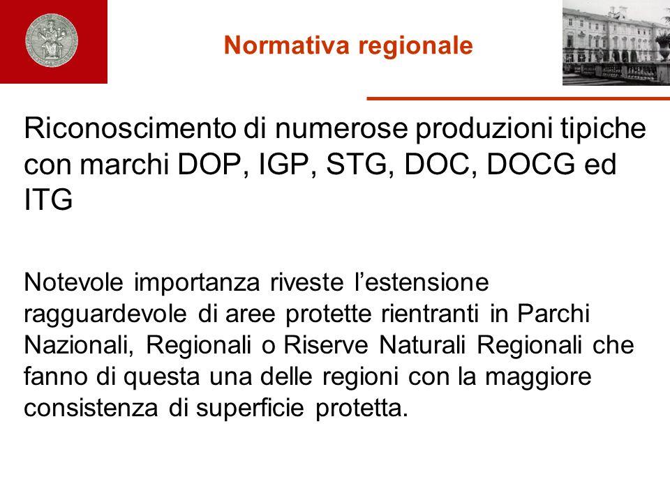 Normativa regionale Riconoscimento di numerose produzioni tipiche con marchi DOP, IGP, STG, DOC, DOCG ed ITG.