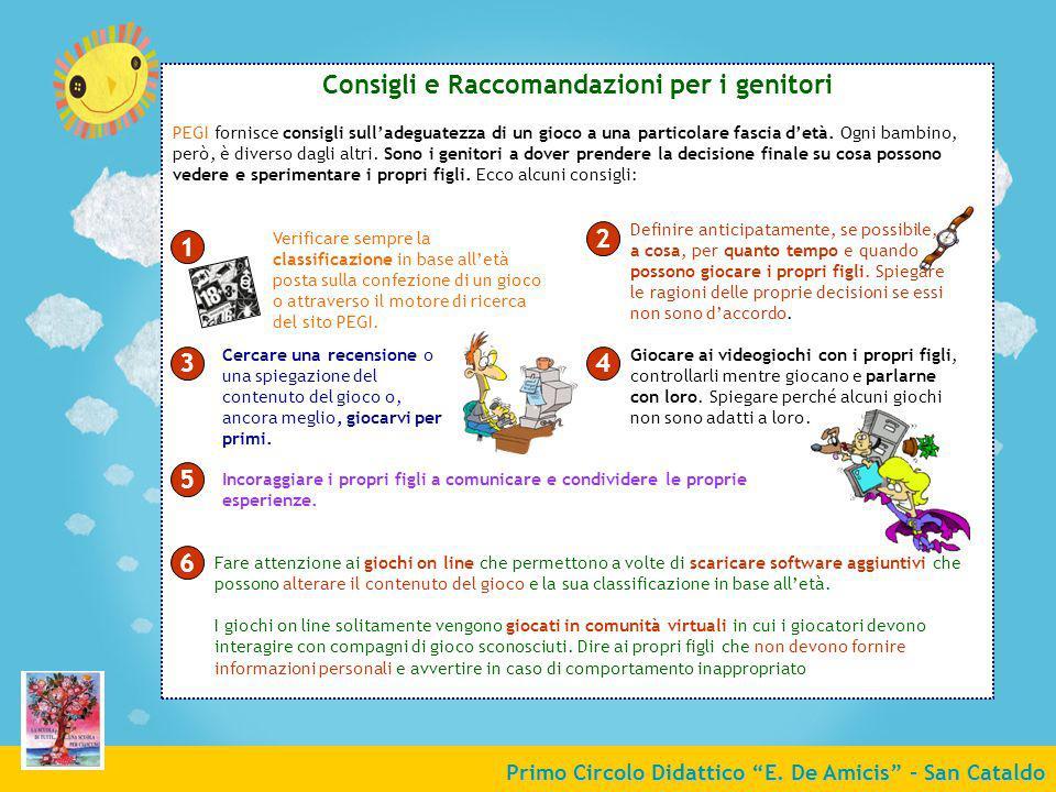 Consigli e Raccomandazioni per i genitori 2 1 3 4 5 6
