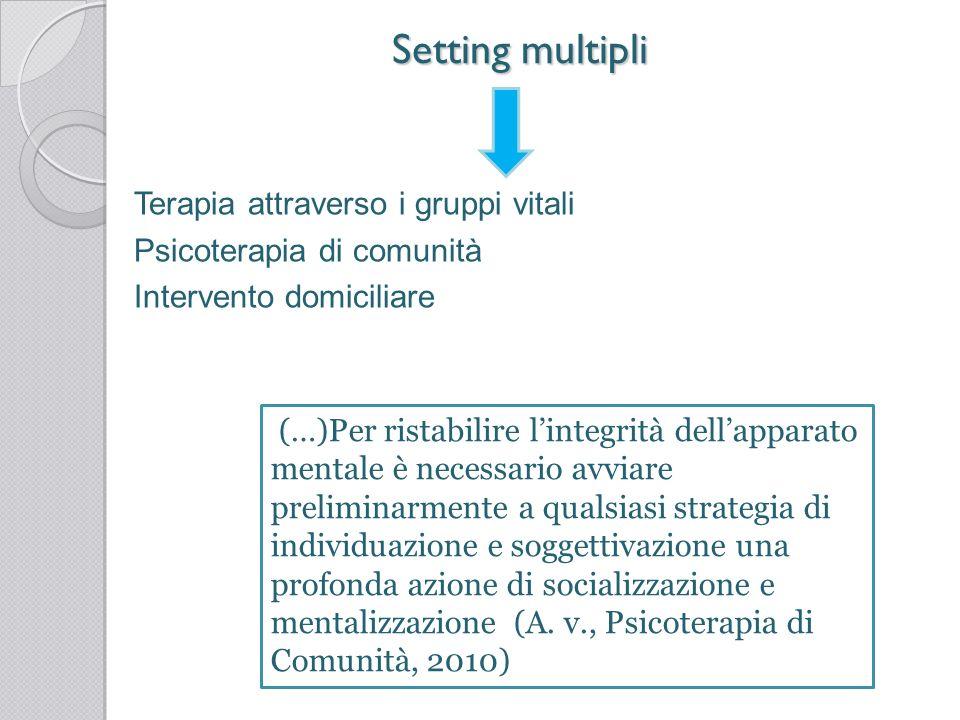 Setting multipliTerapia attraverso i gruppi vitali Psicoterapia di comunità Intervento domiciliare