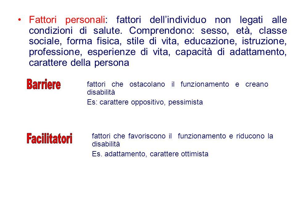 Fattori personali: fattori dell'individuo non legati alle condizioni di salute. Comprendono: sesso, età, classe sociale, forma fisica, stile di vita, educazione, istruzione, professione, esperienze di vita, capacità di adattamento, carattere della persona