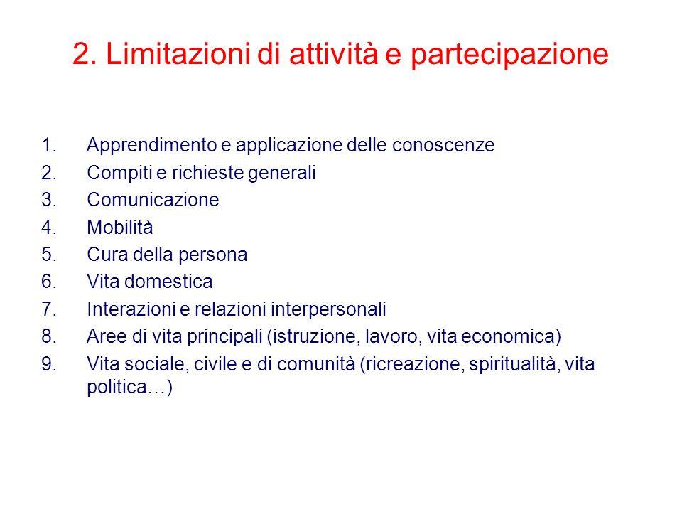 2. Limitazioni di attività e partecipazione