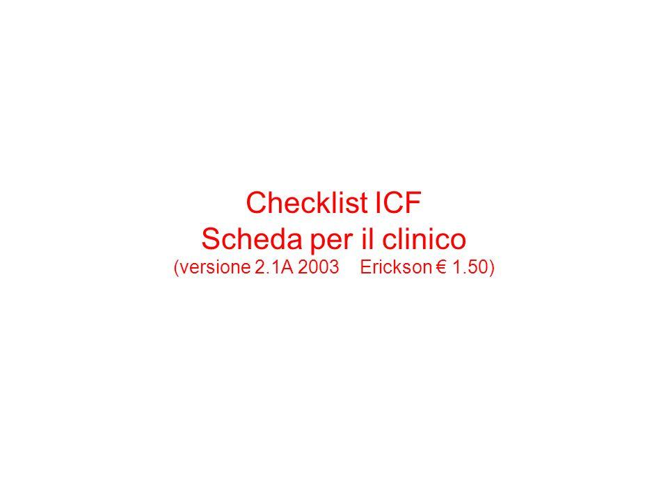 Checklist ICF Scheda per il clinico (versione 2. 1A 2003 Erickson € 1