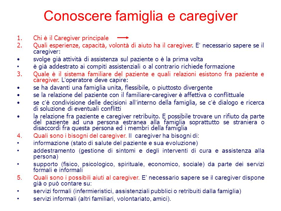 Conoscere famiglia e caregiver