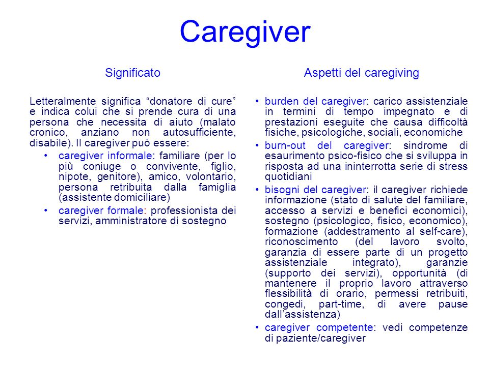 Aspetti del caregiving