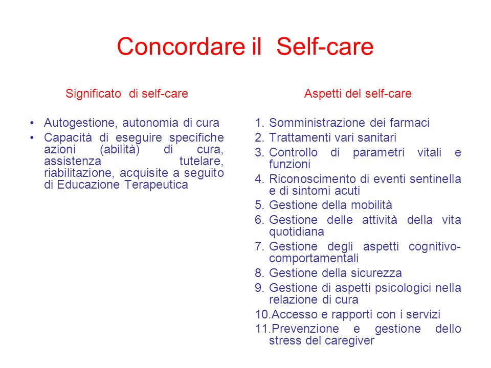 Concordare il Self-care