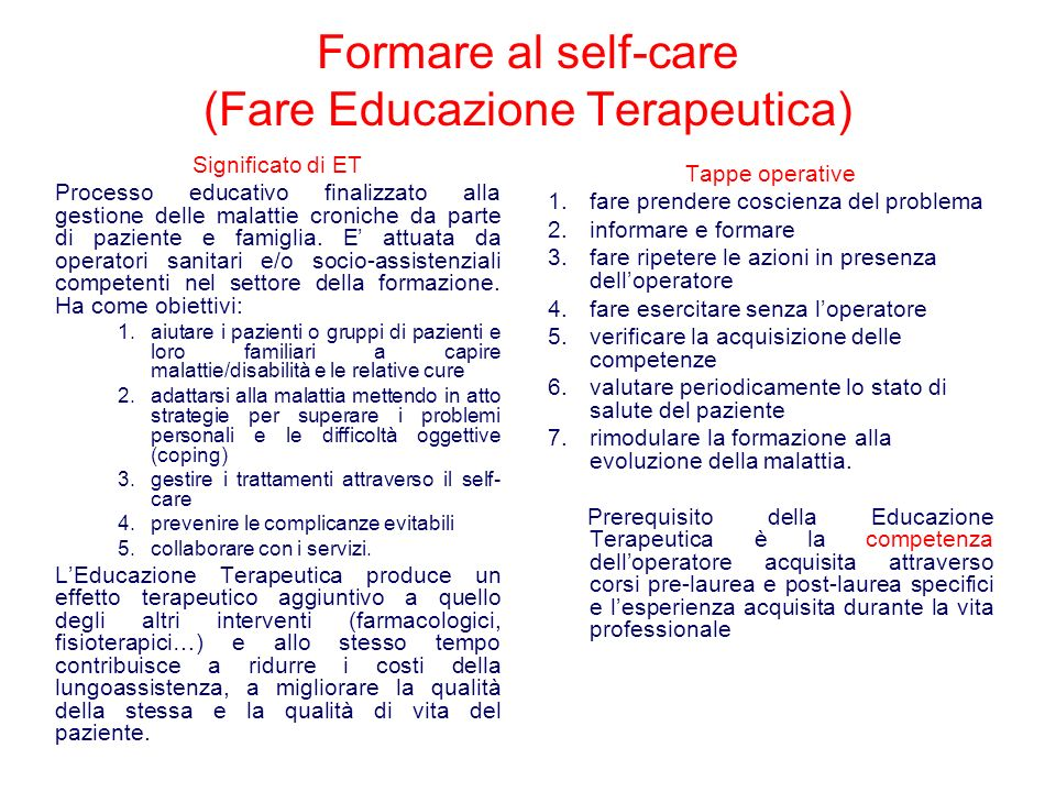 Formare al self-care (Fare Educazione Terapeutica)