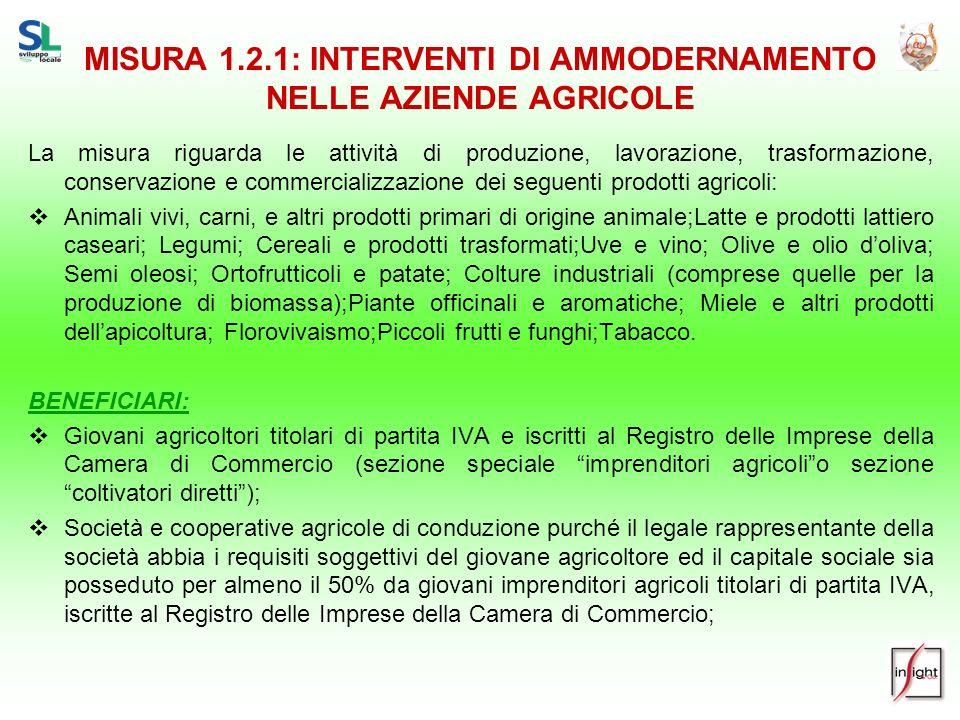 MISURA 1.2.1: INTERVENTI DI AMMODERNAMENTO NELLE AZIENDE AGRICOLE