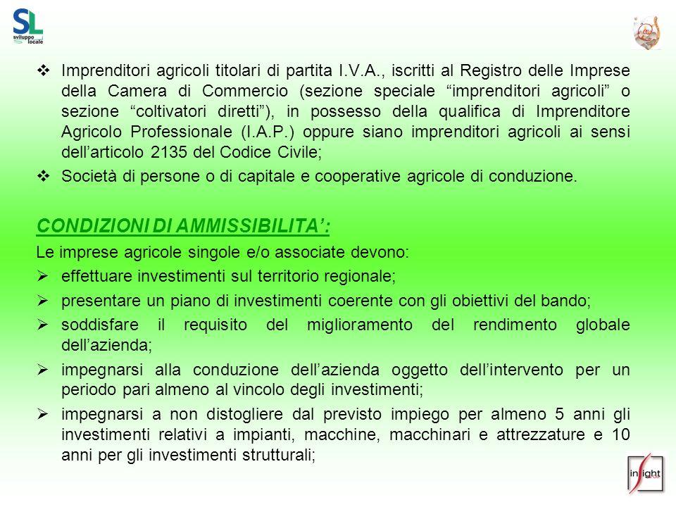 CONDIZIONI DI AMMISSIBILITA':