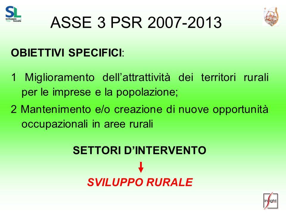 ASSE 3 PSR 2007-2013 OBIETTIVI SPECIFICI: