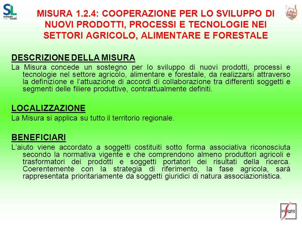 MISURA 1.2.4: COOPERAZIONE PER LO SVILUPPO DI NUOVI PRODOTTI, PROCESSI E TECNOLOGIE NEI SETTORI AGRICOLO, ALIMENTARE E FORESTALE