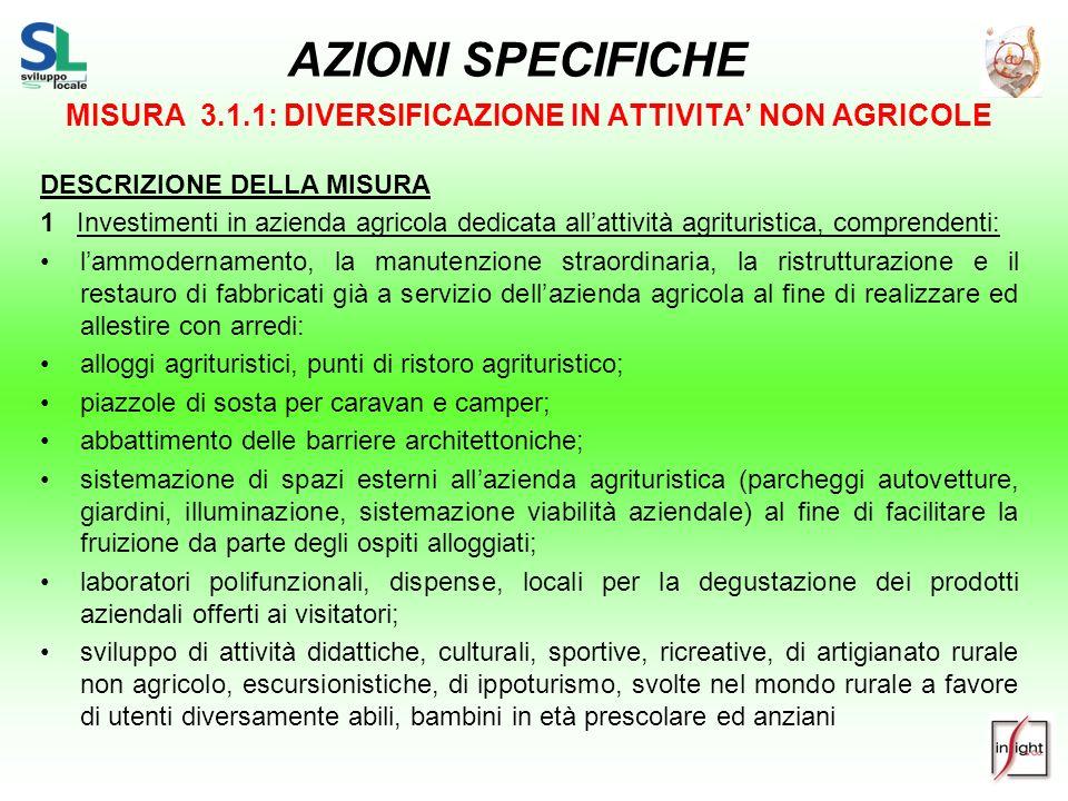 MISURA 3.1.1: DIVERSIFICAZIONE IN ATTIVITA' NON AGRICOLE