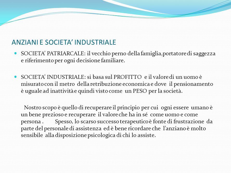 ANZIANI E SOCIETA' INDUSTRIALE