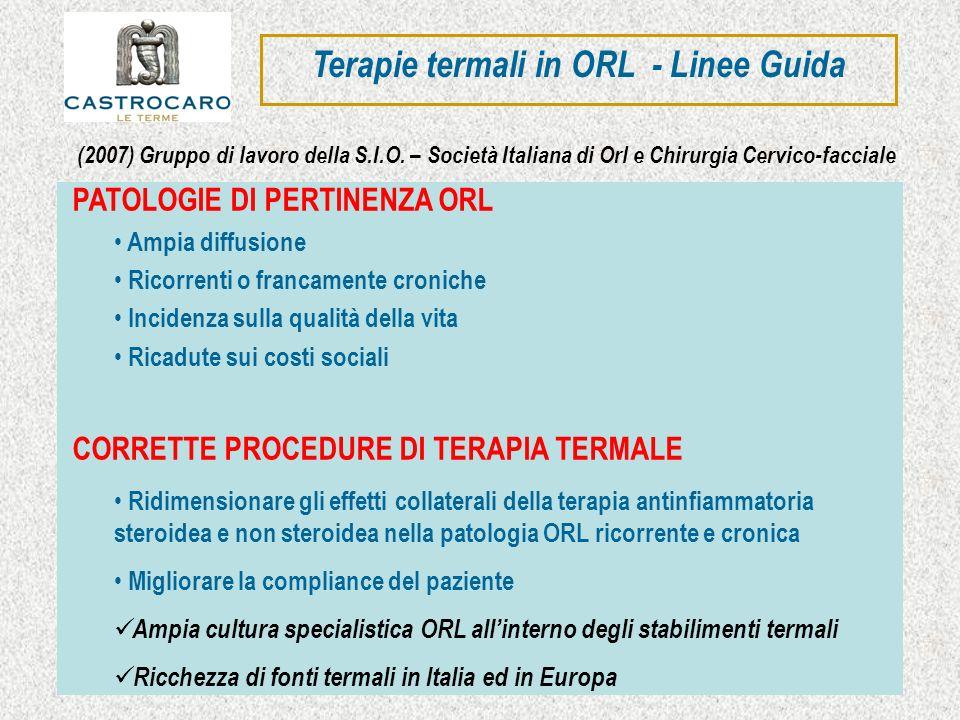 Terapie termali in ORL - Linee Guida