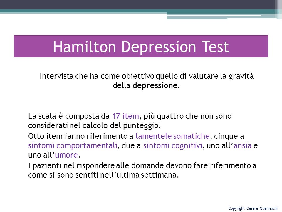 Hamilton Depression Test