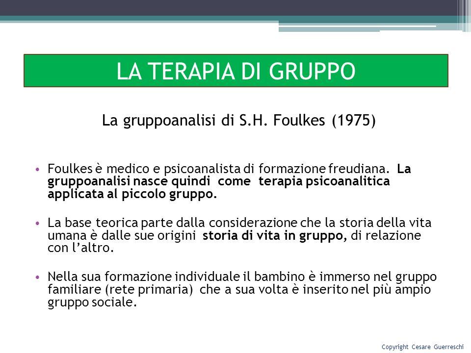 LA TERAPIA DI GRUPPO La gruppoanalisi di S.H. Foulkes (1975)