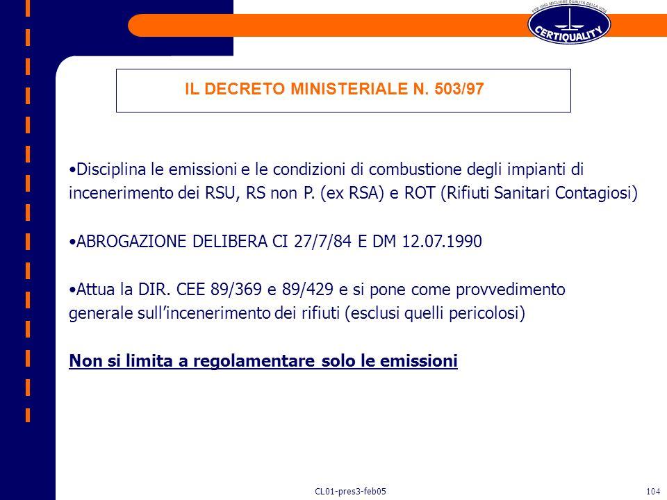 IL DECRETO MINISTERIALE N. 503/97