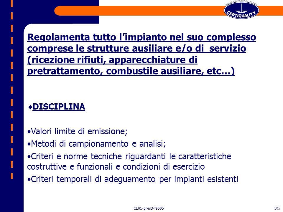 Regolamenta tutto l'impianto nel suo complesso comprese le strutture ausiliare e/o di servizio (ricezione rifiuti, apparecchiature di pretrattamento, combustile ausiliare, etc…)