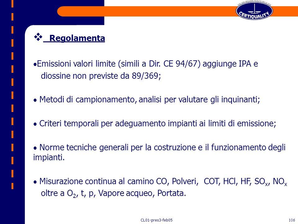 Regolamenta Emissioni valori limite (simili a Dir. CE 94/67) aggiunge IPA e. diossine non previste da 89/369;