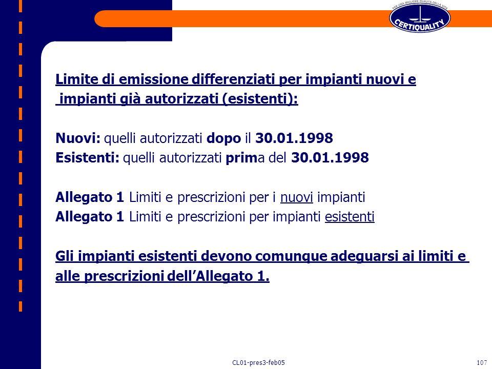 Limite di emissione differenziati per impianti nuovi e