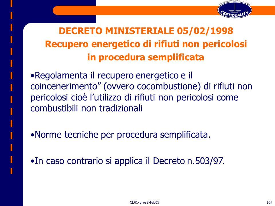 DECRETO MINISTERIALE 05/02/1998