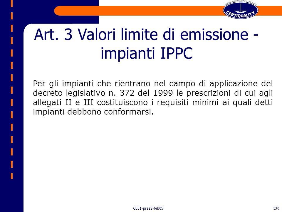 Art. 3 Valori limite di emissione - impianti IPPC