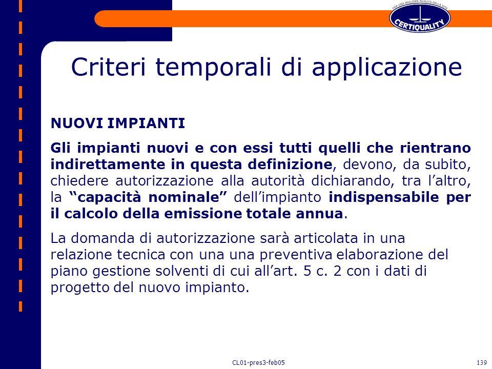Criteri temporali di applicazione