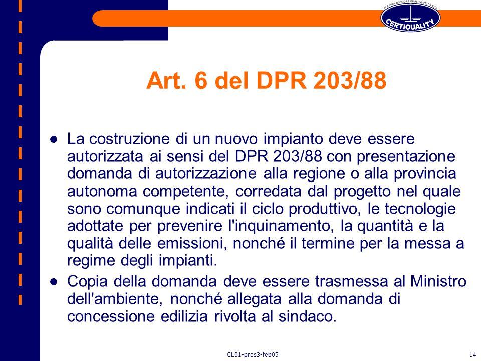Art. 6 del DPR 203/88