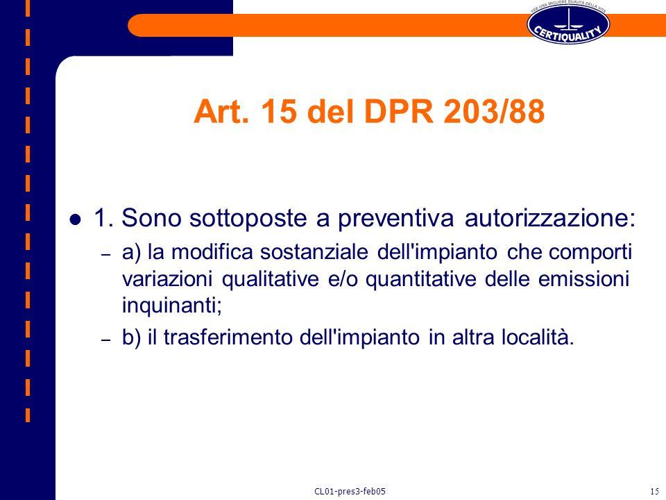 Art. 15 del DPR 203/88 1. Sono sottoposte a preventiva autorizzazione: