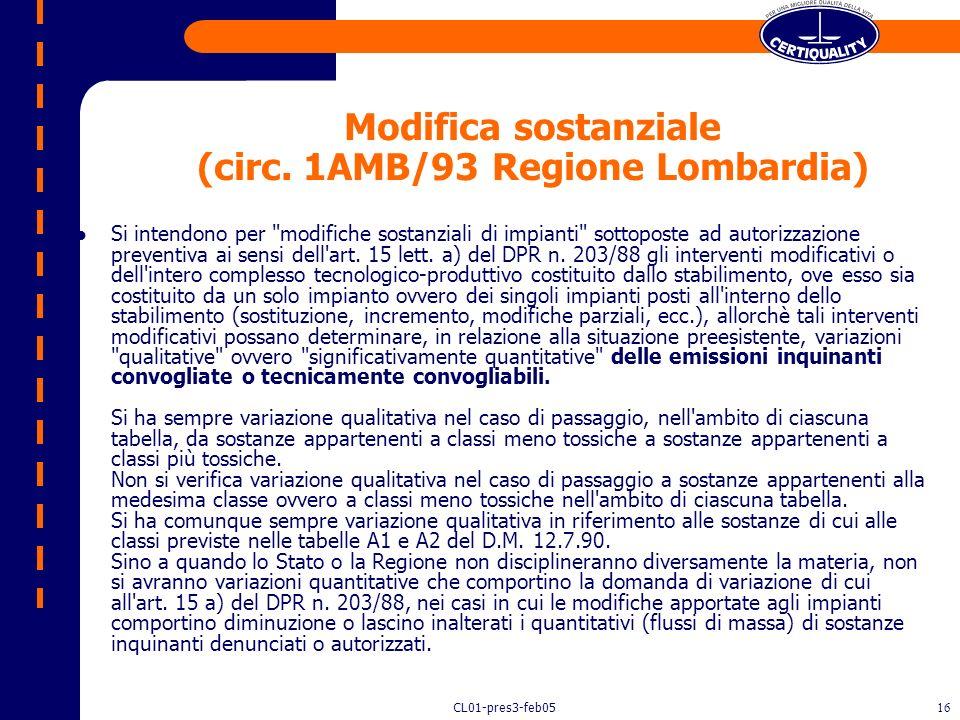 Modifica sostanziale (circ. 1AMB/93 Regione Lombardia)