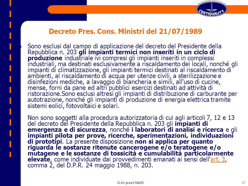 Decreto Pres. Cons. Ministri del 21/07/1989