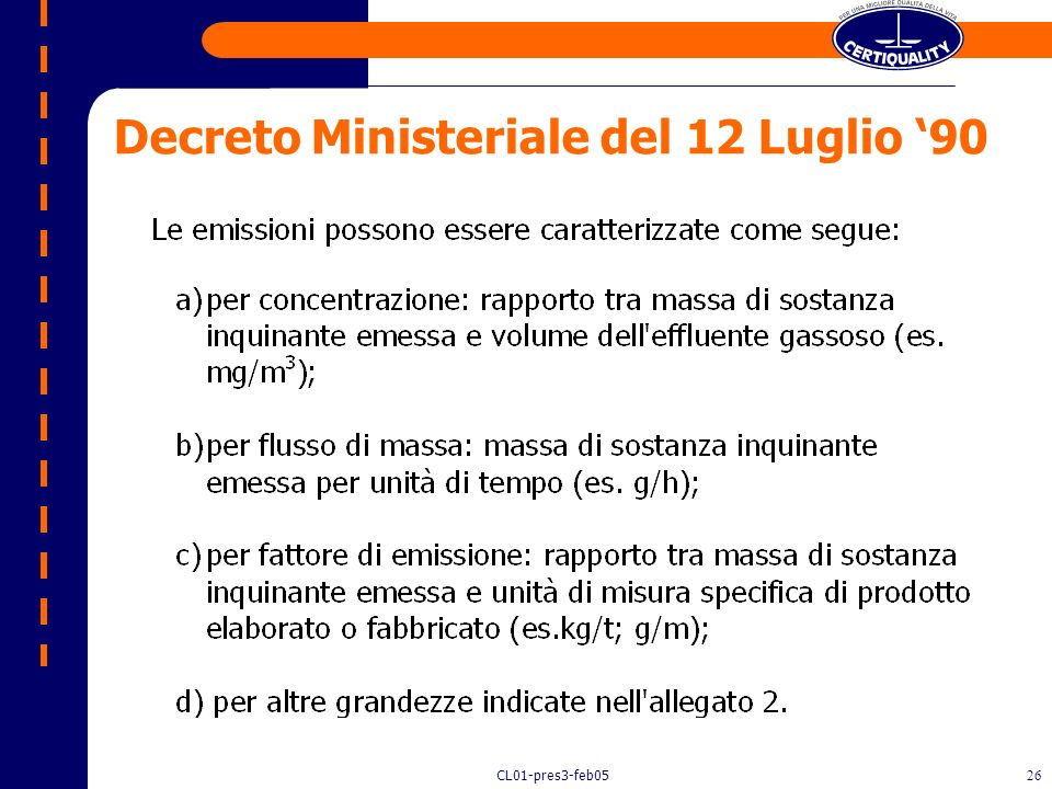 Decreto Ministeriale del 12 Luglio '90