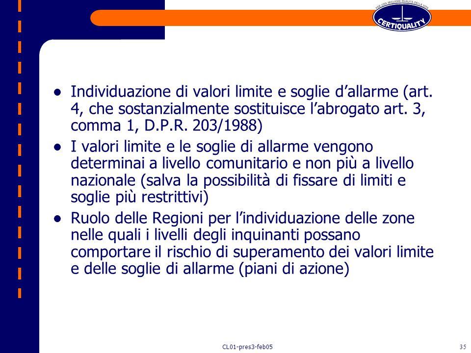 Individuazione di valori limite e soglie d'allarme (art