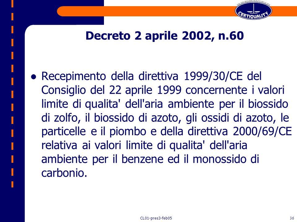 Decreto 2 aprile 2002, n.60