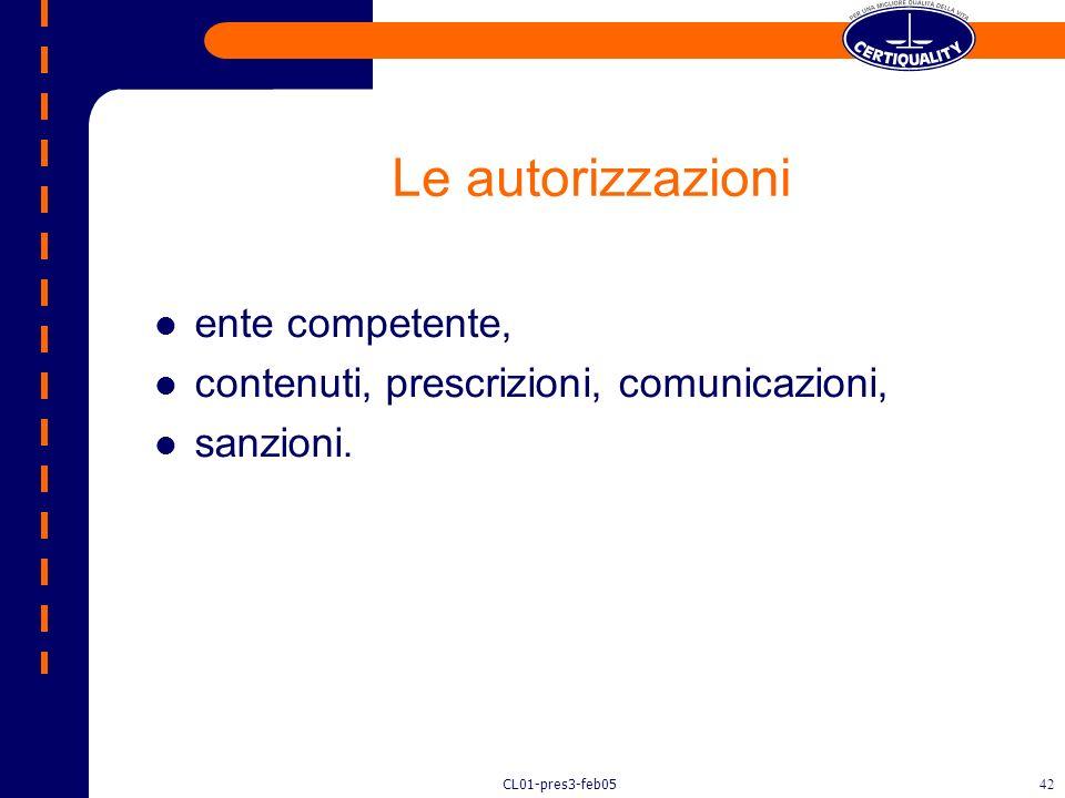 Le autorizzazioni ente competente,