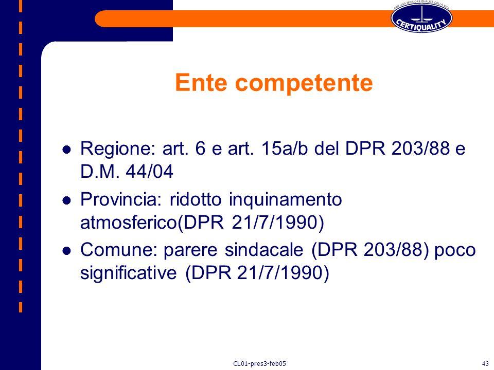 Ente competente Regione: art. 6 e art. 15a/b del DPR 203/88 e D.M. 44/04. Provincia: ridotto inquinamento atmosferico(DPR 21/7/1990)
