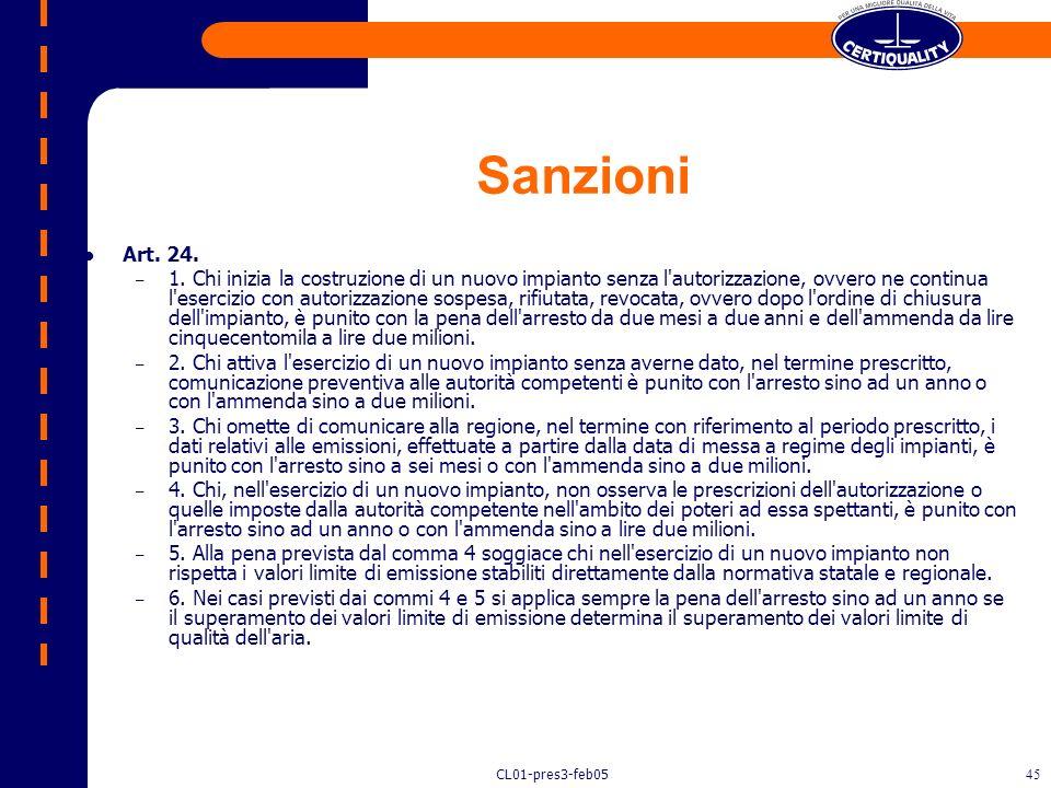 Sanzioni Art. 24.