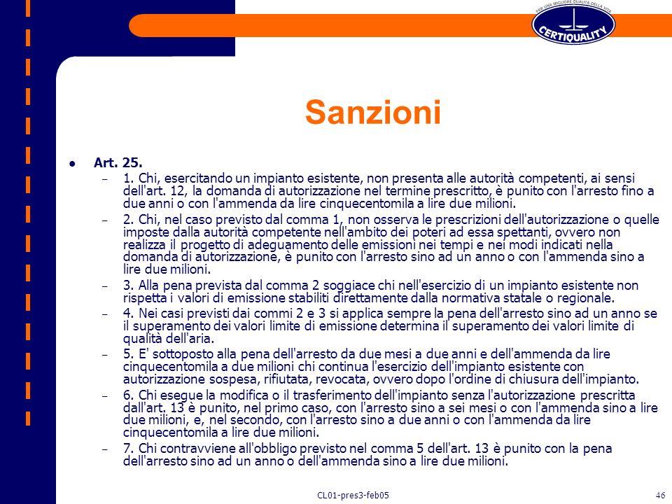 Sanzioni Art. 25.