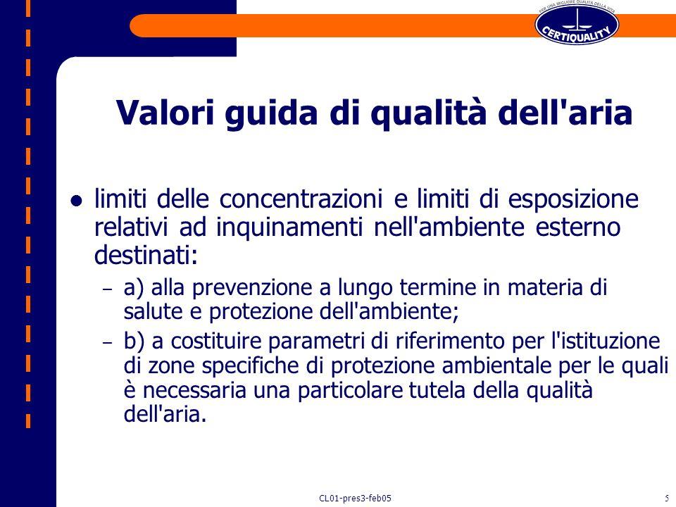 Valori guida di qualità dell aria