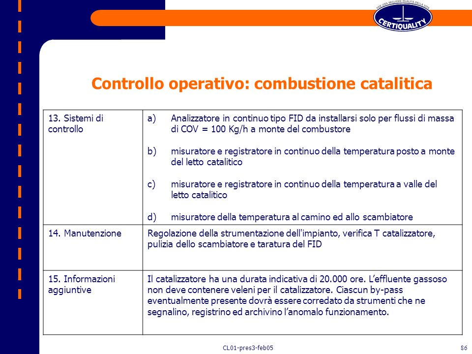 Controllo operativo: combustione catalitica