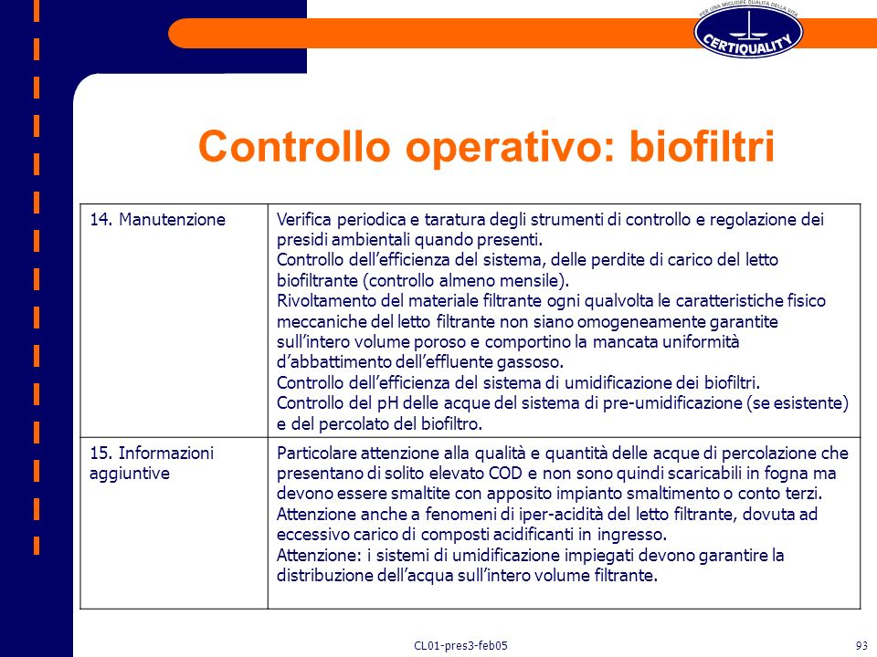 Controllo operativo: biofiltri