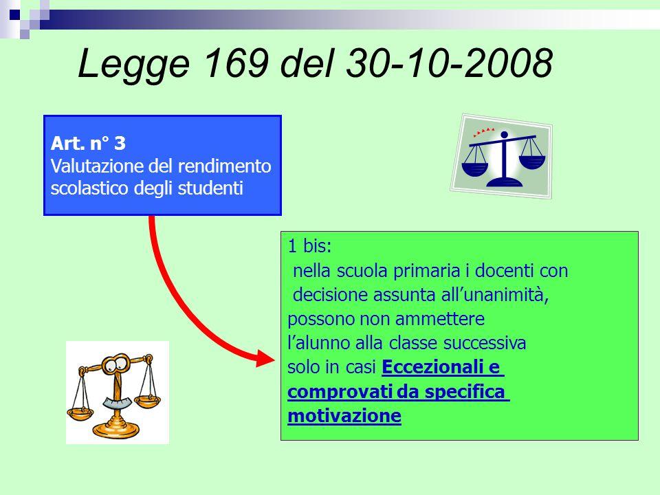 Legge 169 del 30-10-2008 Art. n° 3 Valutazione del rendimento